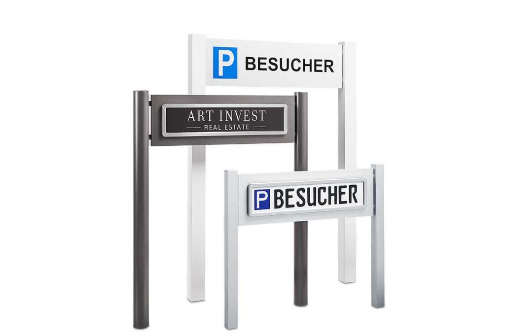 Parkplatzschilder GALA Außenanlagen Design von ParkSign für Fuhrpark, Kunden oder Besucher, edel, hochwertig, exklusiv mit Acrylglasplatte, Acrylbuchstaben oder geprägte Schilder und Edelstahl Rahmen mit Clipsystem von CarSign für schnelles Auswechseln der Schilder zum einbetonieren oder unsichtbar verschrauben, mit Erdspieß der Parkplatzschilder